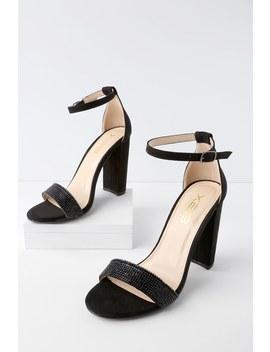 Amina Black Suede Rhinestone Ankle Strap Heels by Lulu's