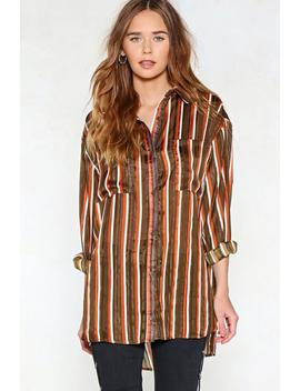 Get On The Stripe Thing Oversized Shirt by Nasty Gal