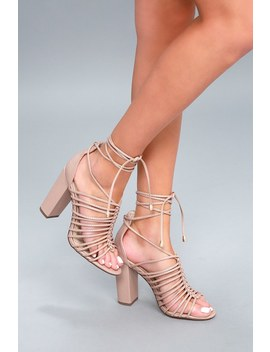 Kiana Nude Caged Lace Up Heels by Lulu's