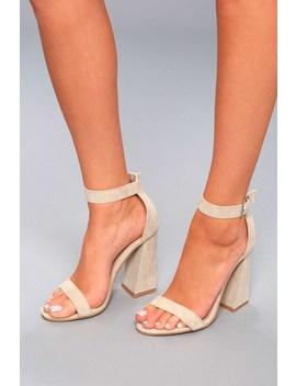 Shandi Nude Suede Ankle Strap Heels by Lulu's
