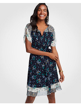 Petite Mixed Floral Flounce Dress by Ann Taylor