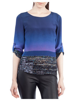 Twilight City Tab Sleeve Top by Akris Punto