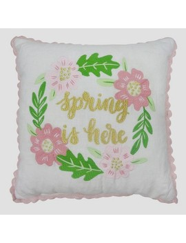 """Spring Is Here Throw Pillow White/Pink/Green 18""""X18""""   Threshold™ by Shop This Collection"""