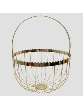 """Metal Decorative Basket Light Gold Finish 12.5""""   Threshold™ by Shop Collections"""