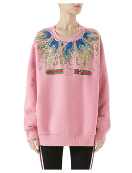 Long Sleeve Crystal Embroidered Felted Cotton Jersey Oversized Sweatshirt by Gucci