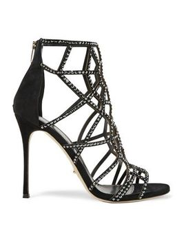 Royal Crystal Embellished Laser Cut Suede Sandals by Sergio Rossi