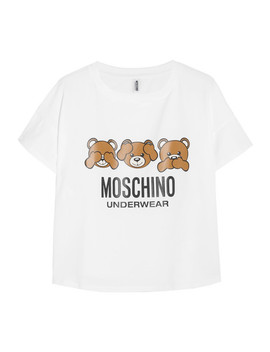 Printed Stretch Cotton Jersey T Shirt by Moschino