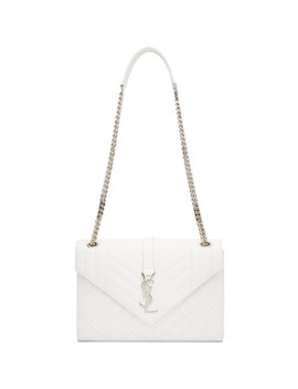 White Medium Envelope Monogramme Chain Bag by Saint Laurent