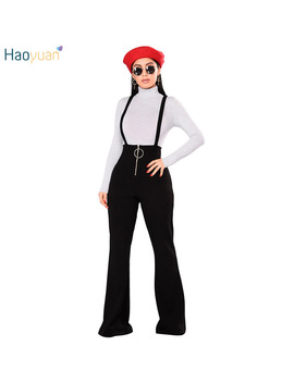 Haoyuan Front Zip Jumpsuits Autumn Winter Backless Spaghetti Strap Sexy Bodysuit Overalls Wide Leg Pants Rompers Womens Jumpsuit by Haoyuan Dres Store