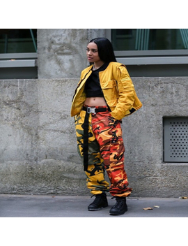 Pink And Orange Camo Pant With Pockets Fashion Women Camouflage Pant High Waist Hiphop Girls Military Pant Jogger Dance Pant by Friend First Store
