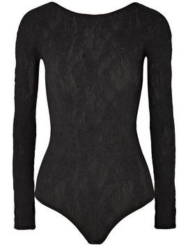 Louise Stretch Wool Blend Lace Bodysuit by Wolford