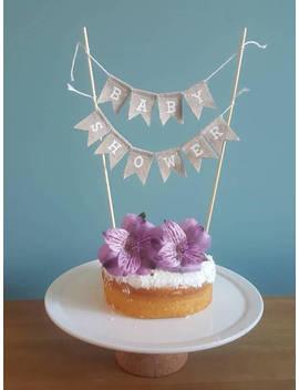 Baby Shower Cake Bunting, Burlap Cake Topper, Baby Shower, Hessian Cake Topper, Rustic Baby Shower, Cake Topper Bunting, Shabby Chic, Baby. by Etsy