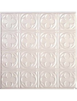 "American Tin Ceilings 24"" X 24"" Metal Backsplash Panel Kit In Creamy White Satin & Reviews by American Tin Ceilings"