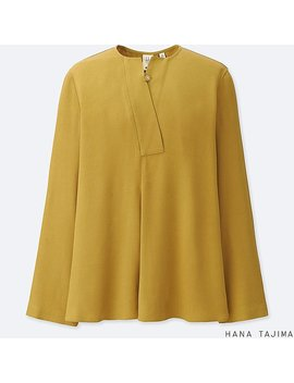 Women Collarless Tuck Long Sleeve Blouse by Uniqlo