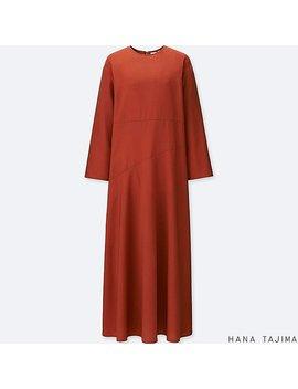 Women Tencel Flare Long Sleeve Long Dress by Uniqlo