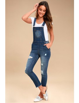Marcy Medium Wash Distressed Denim Overalls by Lulu's