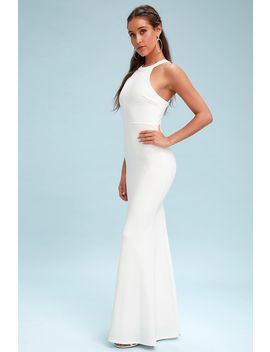 Joella White Lace Halter Maxi Dress by Lulus