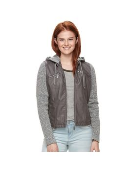 Juniors' J 2 Knit Sleeve Faux Leather Jacket by Kohl's