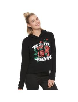 """Juniors' """"Always Right"""" Cropped Graphic Hoodie by Kohl's"""