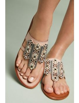Anthropologie Embellished Thong Sandals by Anthropologie