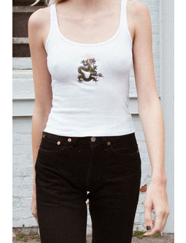 Beyonca Green Dragon Embroidery Tank by Brandy Melville