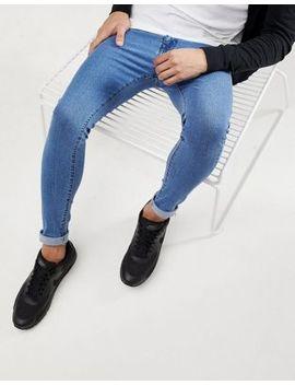 Bershka Super Skinny Jeans In Blue by Bershka