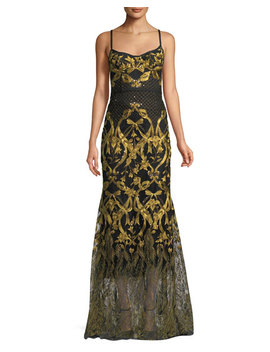 Embroidered Corset Gown W/ Adjustable Straps by Marchesa Notte