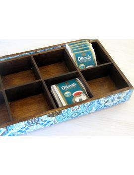 Blue Wooden Tea Box , Box For Jewelry,  Morrocan Decor ,  Display Box , Box Organizer , Coffee Box , Marrakesh Decor , Box 8 Compartments by Etsy