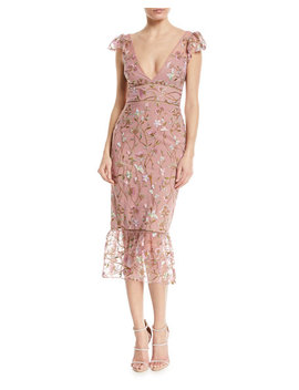 Sequin Embroidered Flutter Sleeve Cocktail Dress by Marchesa Notte