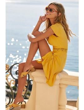 Wistful Wanderer Mustard Yellow Crochet Lace Dress by Lulus