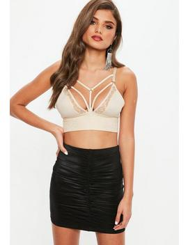 Cream Harness Detail Lace Bralet by Missguided