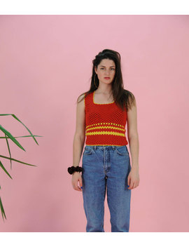 Vintage Striped Tank Top, Red And Yellow Knit Top, 70s Sweater, Vest Top, Cropped Shirt, Retro Sleeveless Sweater, Small Size by Etsy