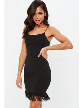 Black Tassel Hem Strappy Mini Dress by Missguided