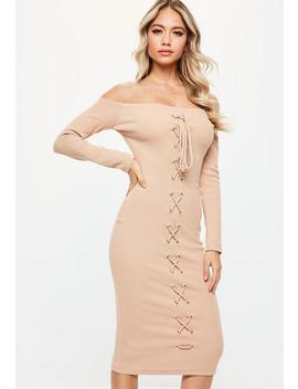 Nude Bardot Long Sleeve Lce Up Front Midi Dress by Missguided
