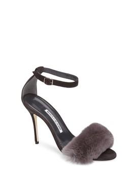Mincha Genuine Rabbit Fur Sandal by Manolo Blahnik