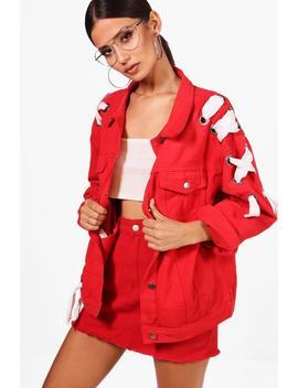 Stephanie Oversize Eyelet Lace Up Denim Jacket by Boohoo