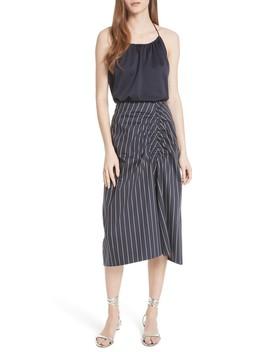 Stripe Sateen Skirt by Tibi