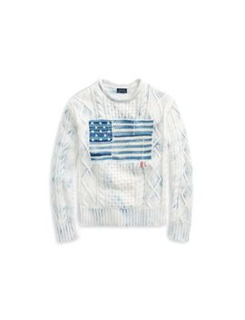 Indigo Flag Cotton Sweater by Ralph Lauren