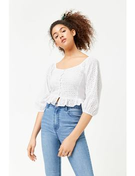 Cropped Eyelet Shirt by Forever 21
