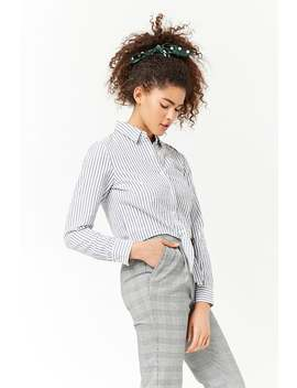 Pinstriped Tie Front Shirt by Forever 21