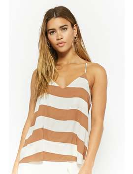 Striped V Neck Cami Top by Forever 21