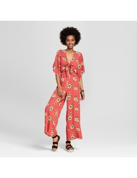 Women's Floral Print Tie Front Jumpsuit   Le Kate (Juniors')   Red by Le Kate