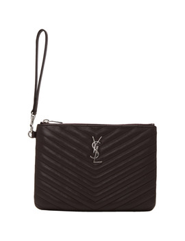 Purple Quilted Monogram Pouch by Saint Laurent