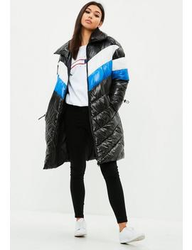 Black Longline Colour Block Puffer Jacket by Missguided