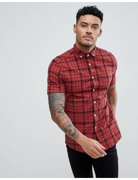 Asos Design Skinny Twill Check Shirt In Red by Asos
