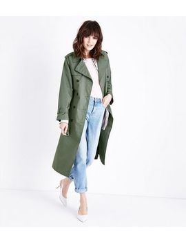 Olive Green Double Breasted Belted Mac by New Look