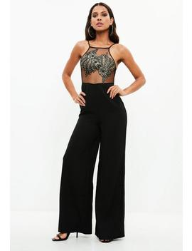 Black Mesh Detail Jumpsuit by Missguided