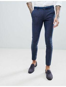Asos Wedding Super Skinny Suit Pants In Petrol Blue Herringbone by Asos