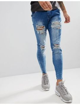 Sik Silk Muscle Fit Jeans In Acid Blue With Distressing by Sik Silk