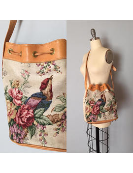 Paradise Bird Canvas And Leather Bag | Roses And Birg Almond Leather Purse | Tapestry Drawstring Bag by Etsy